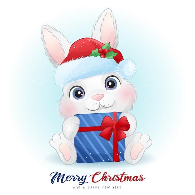 Lapin Mignon Pour Le Jour De Noël Avec Illustration Aquarelle Vecteur Premium