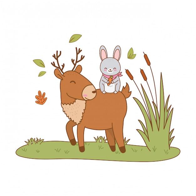 Lapin mignon et renne dans le champ des personnages forestiers Vecteur Premium