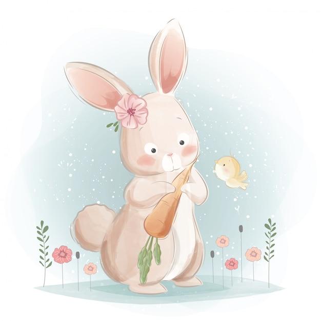 Un lapin mignon et ses carottes Vecteur Premium