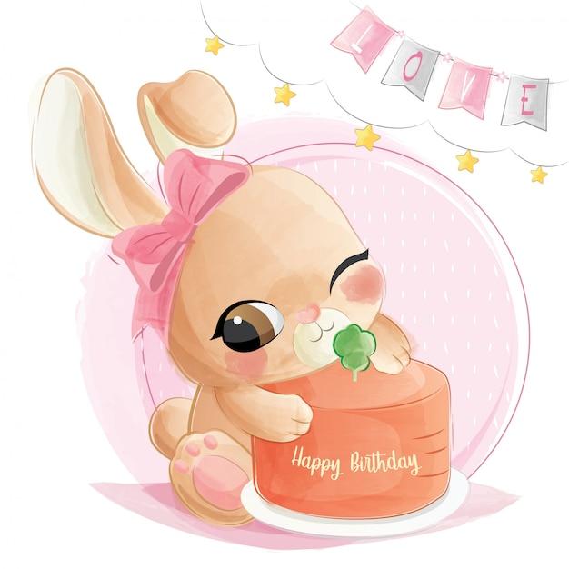 Lapin mignon avec son gâteau d'anniversaire Vecteur Premium