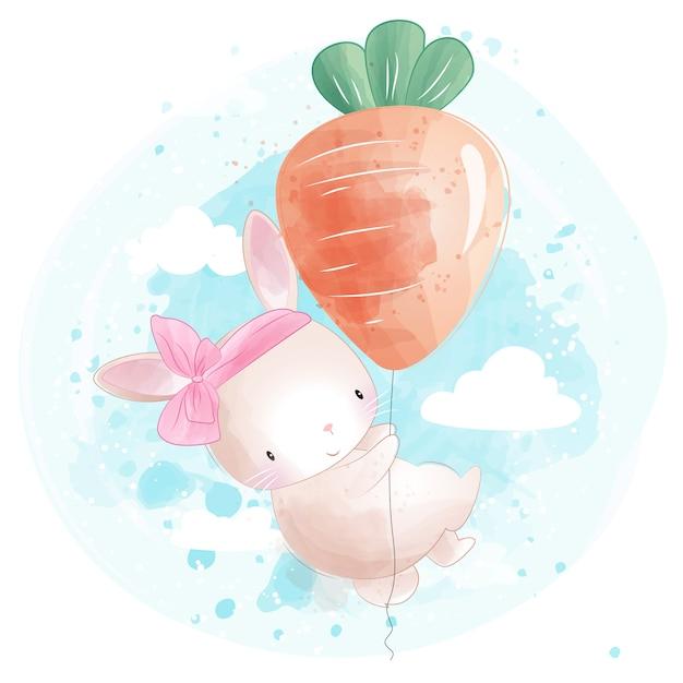Lapin mignon volant avec ballon en forme de carotte Vecteur Premium