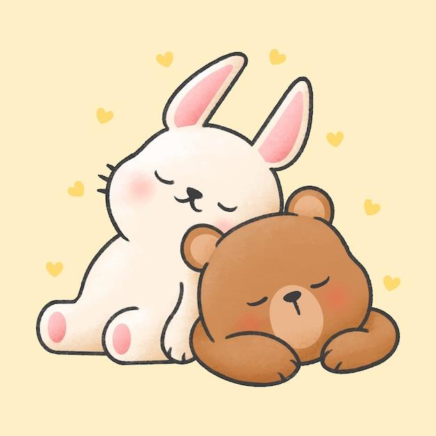 Lapin et ours dormir ensemble style dessinés à la main de dessin animé Vecteur Premium