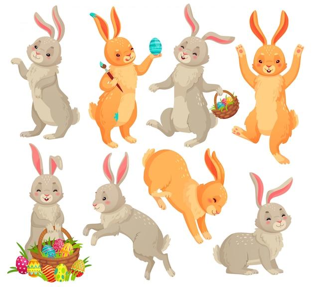 Lapin De Pâques, Lapin Sautant, Danse Animaux De Lapins Drôles Et Lapins Easters Oeufs Dessin Animé Ensemble Vecteur Premium