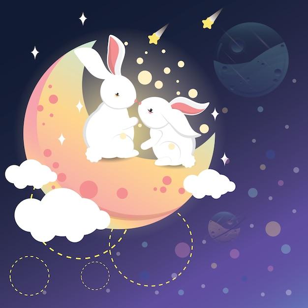 Lapin romantique sur la lune Vecteur Premium