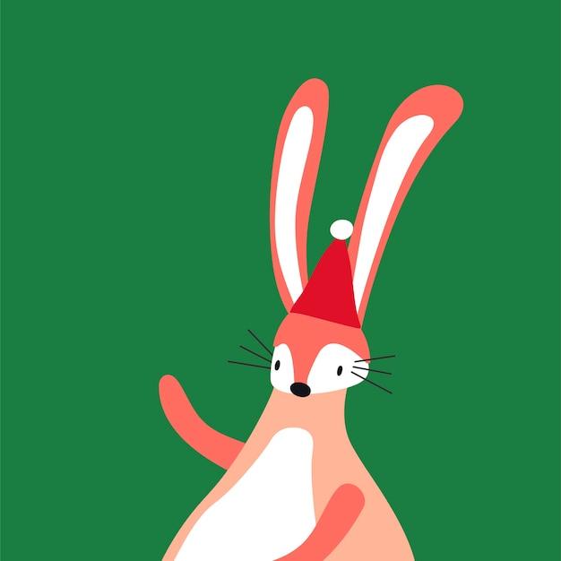 Lapin rose dans un vecteur de style dessin animé Vecteur gratuit