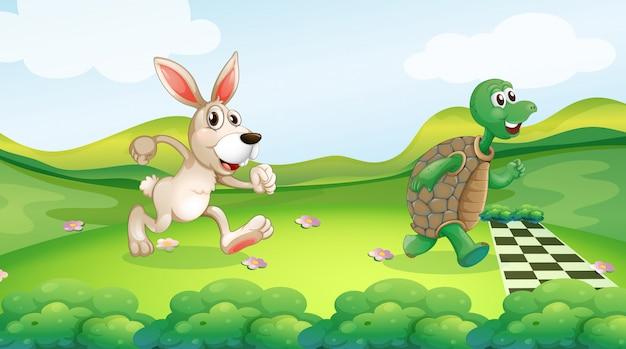 Lapin et tortue dans la course Vecteur gratuit