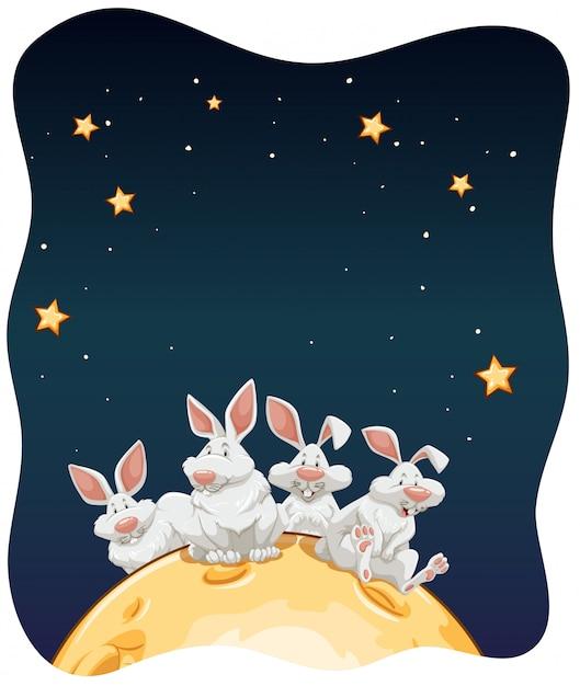 Lapins dans la lune Vecteur gratuit