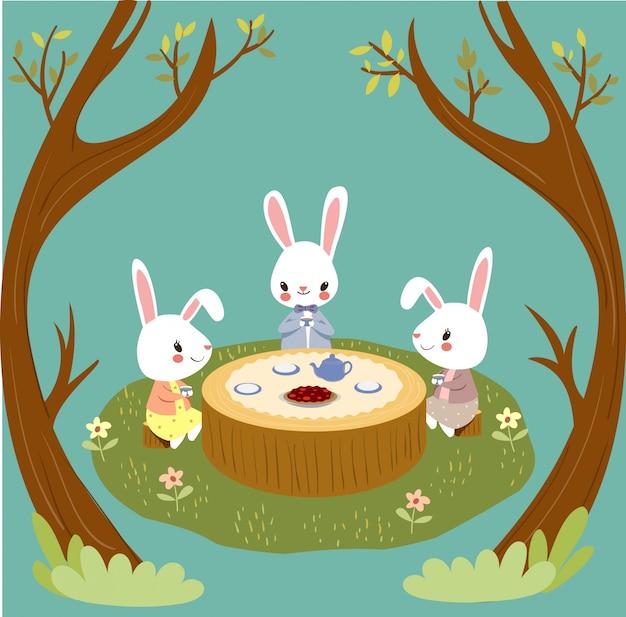 Des lapins mignons profitent de l'heure du thé dans les bois Vecteur Premium