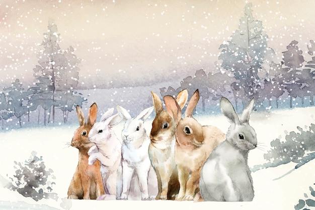 Lapins sauvages dans la neige d'hiver peinte par vecteur aquarelle Vecteur gratuit
