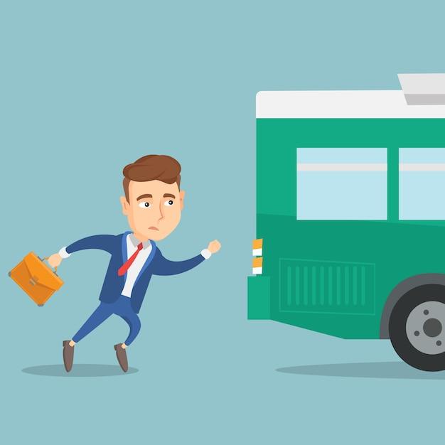 Latecomer homme en cours d'exécution pour le bus. Vecteur Premium