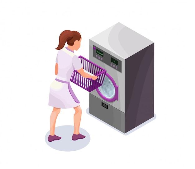 Laundress tenant un panier avec des vêtements près de la machine à laver Vecteur Premium