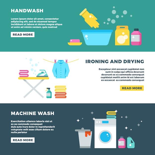 Lavage et séchage du linge, bannière du service de blanchisserie Vecteur Premium