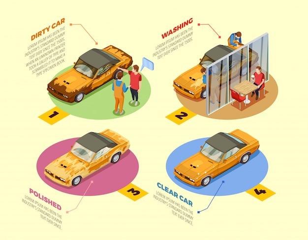 Lave-auto 4 icônes infographiques isométriques Vecteur gratuit