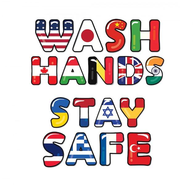 Lavez-vous Les Mains En Toute Sécurité Grâce à Covid-19. Drapeaux De Pays. Vecteur Premium