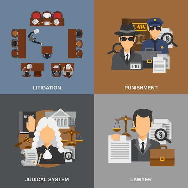 Law Flat Set Vecteur gratuit