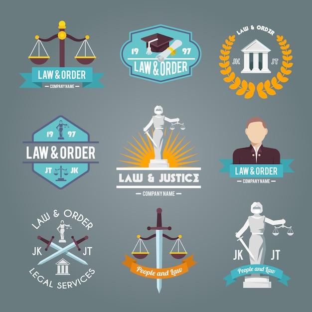 Law labels icons set Vecteur gratuit