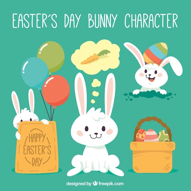 le caractère de lapin de jour de Pâques Vecteur gratuit