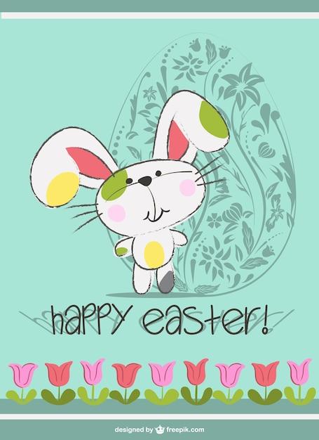 Le lapin de Pâques mignon de bande dessinée Vecteur gratuit