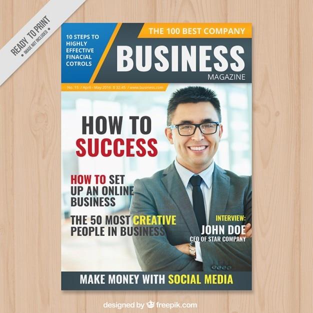 le magazine d'affaires avec un homme d'affaires dans le couvercle Vecteur Premium
