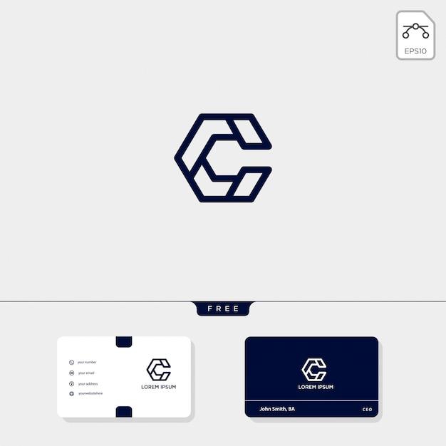 Le Modle De Logo Cration Initial C CC Et Carte