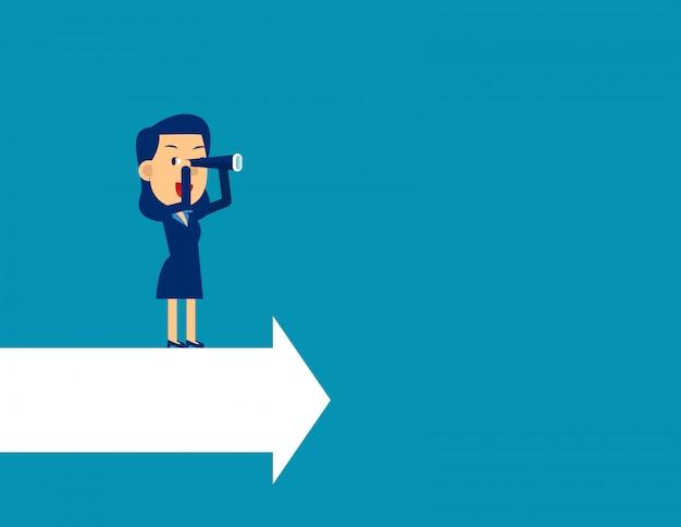 Le leader cherche la direction du succès. Vecteur Premium
