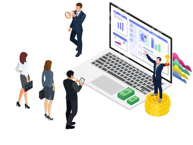 Des leaders qui encouragent les employés à la croissance économique Vecteur Premium