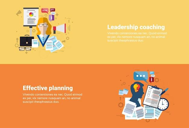 Leadership coaching management stratégie de planification efficace business web banner flat vector illustrat Vecteur Premium