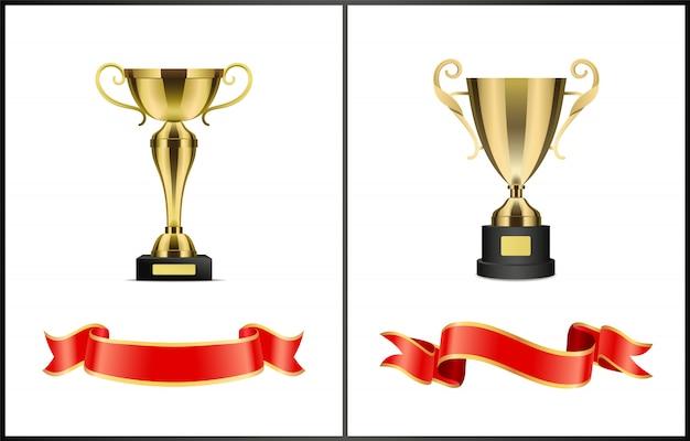 Leadership golden awards pour la compétition gagnante Vecteur Premium