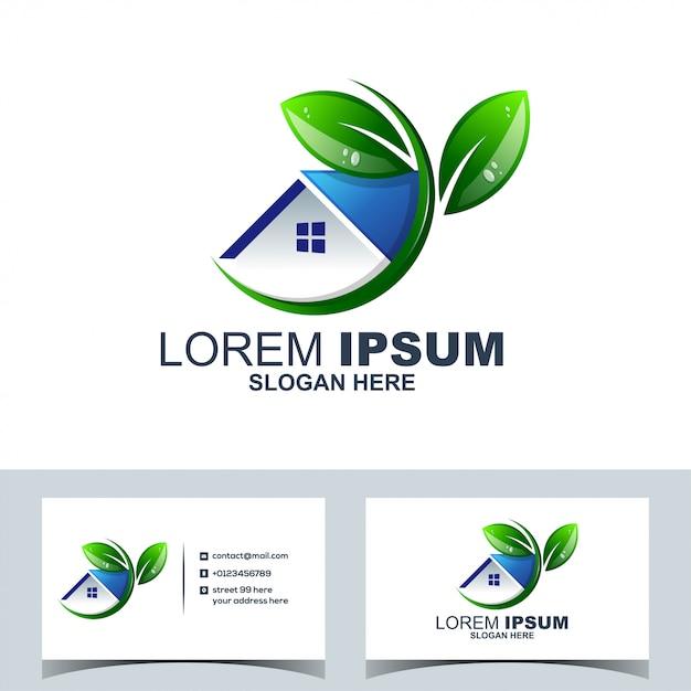 Leaf green accueil accueil immobilier logo Vecteur Premium
