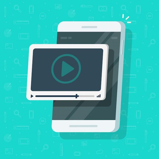 Lecteur vidéo sur l'écran du téléphone mobile ou smartphone avec caricature de plat concept web webinaire Vecteur Premium