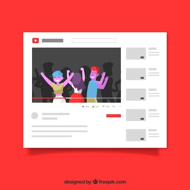 Lecteur youtube avec un design plat Vecteur gratuit