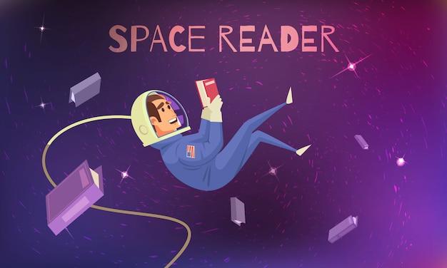 Lecture De L'espace Avec Cosmonaute En Combinaison Spatiale Plate Vecteur gratuit