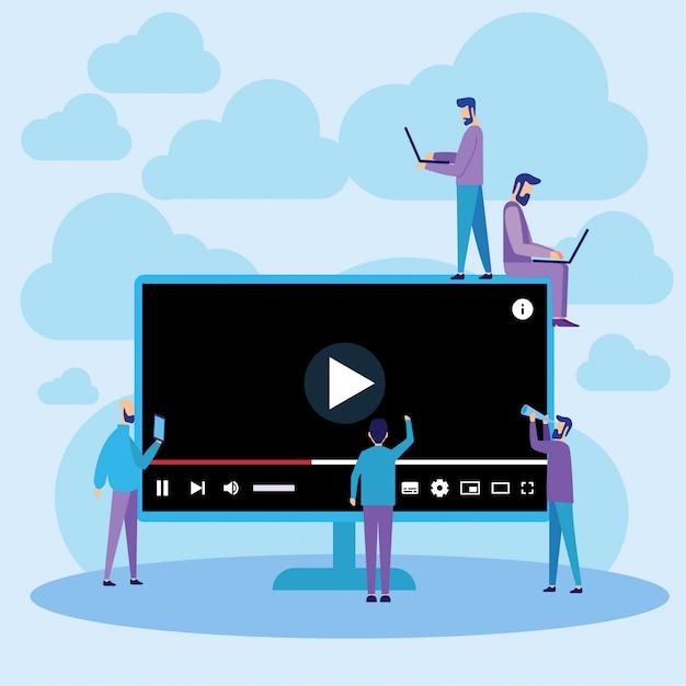 Lecture en ligne de vidéos sur youtube player Vecteur Premium