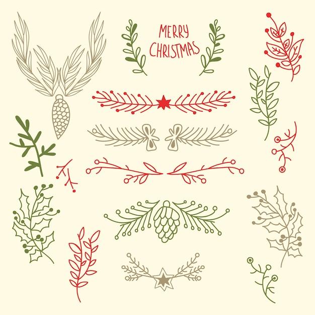 Léger Joyeux Noël Floral Avec Des Branches D'arbres Naturels Et Des Cônes En Illustration De Style Dessiné à La Main Vecteur gratuit