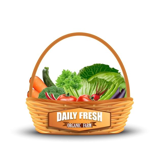 Légume dans le panier en osier isolé sur blanc Vecteur Premium