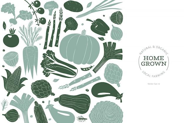Légumes amusants dessinés à la main Vecteur Premium