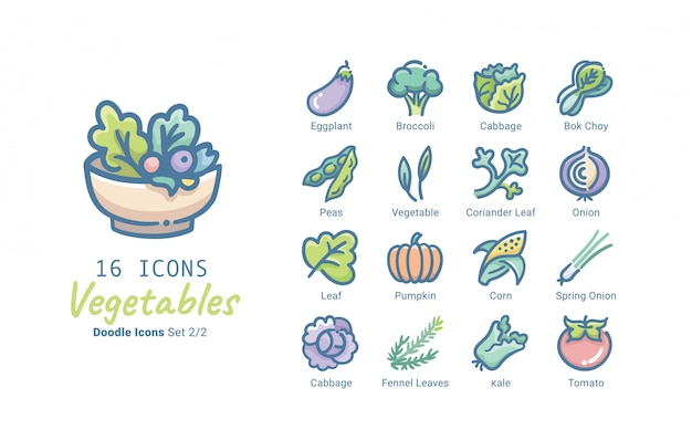 Légumes Collection D'icônes Vectorielles Vecteur Premium