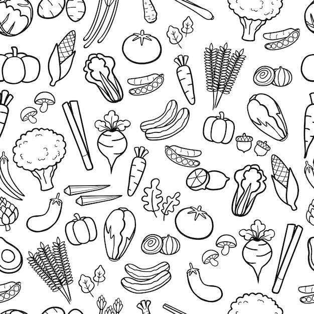 Légumes dessinés à la main doodle sans soudure de fond Vecteur Premium