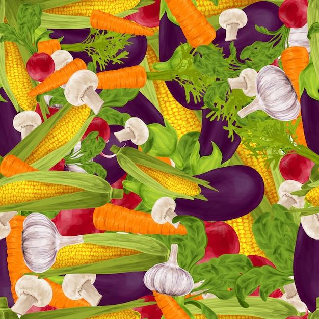 Légumes fond sans couture Vecteur Premium