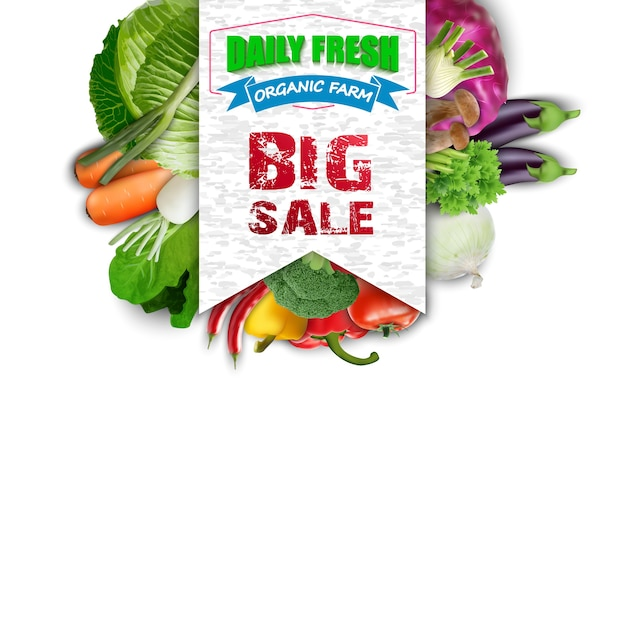 Légumes Frais Avec Bannière De Vente Vecteur Premium