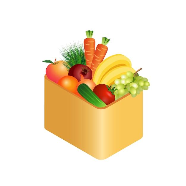 Légumes frais dans une boîte illustration réaliste Vecteur Premium