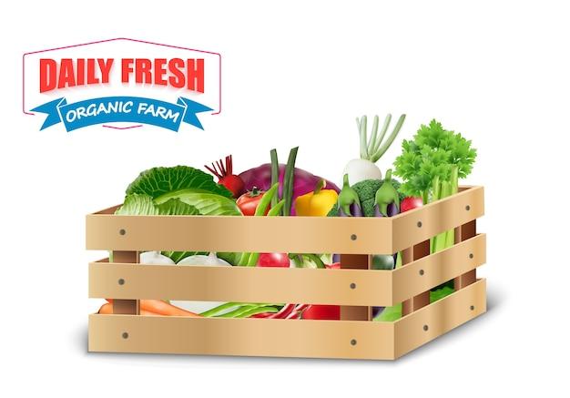 Légumes frais dans des caisses en bois Vecteur Premium