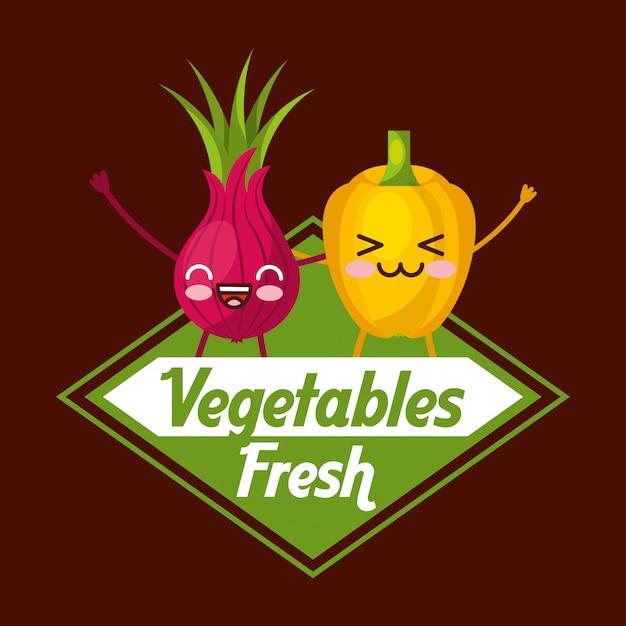 Légumes frais Vecteur Premium