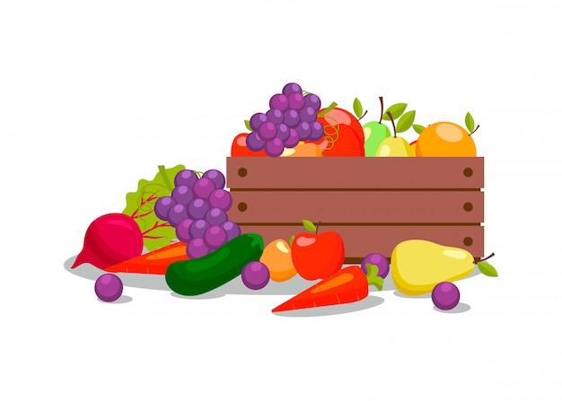 Légumes et fruits dans une caisse en bois illustration Vecteur Premium