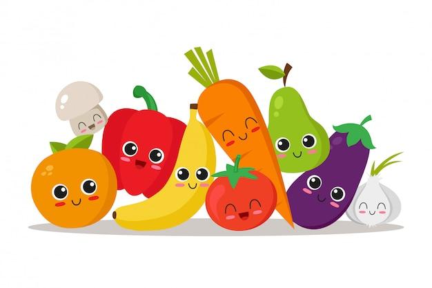 Légumes et fruits mignons, drôles et joyeux Vecteur Premium