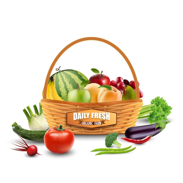 Légumes Et Fruits En Panier D'osier Isolé Sur Blanc Vecteur Premium