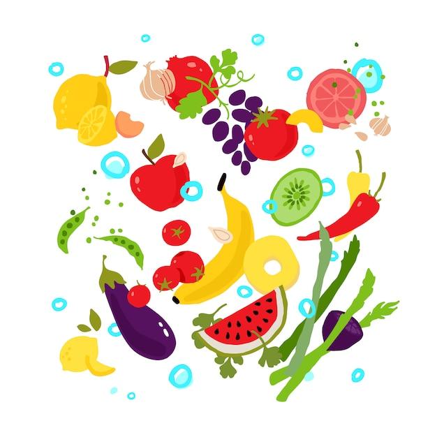 Légumes et fruits. Vecteur Premium