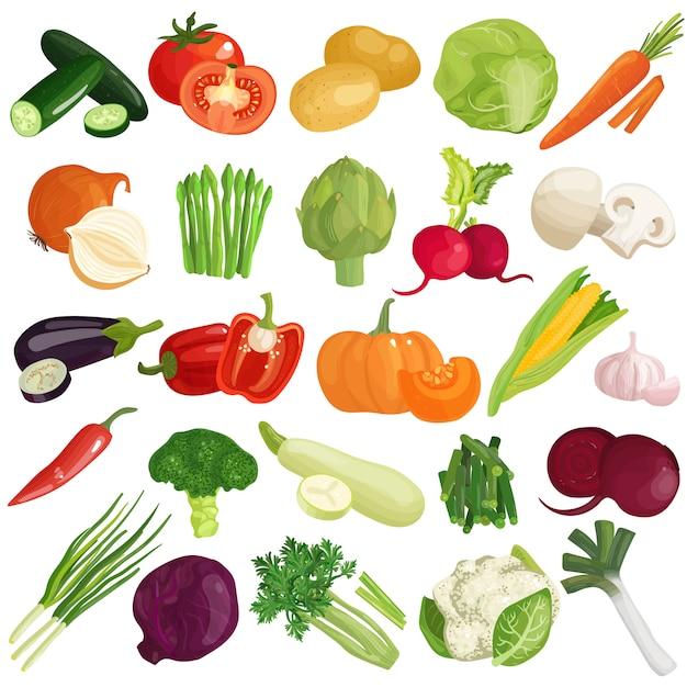Légumes icons set Vecteur gratuit
