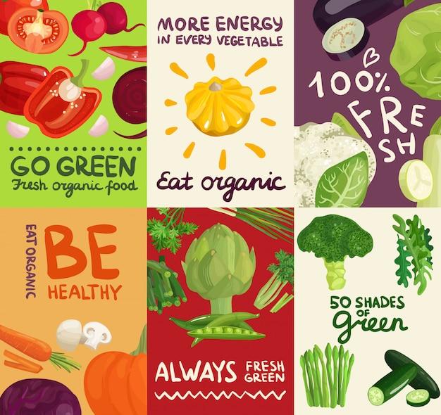 Légumes posters et bannières Vecteur gratuit