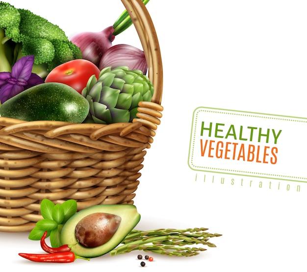 Légumes sains dans le panier Vecteur gratuit